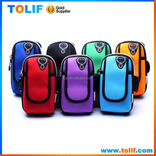 Wholesale Outdoor Sport Smartphone Armband bag case for Sumsung Galaxy S6 iPhone 6 Neoprene Double Pockets Mobile Pouch Arm Bag