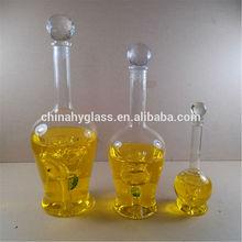De cristal de la botella de vidrio para el alcohol, decorativos de vidrio con corcho botella, botella de vidrio blanco