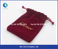 Custom drawstring jewelry velvet leather pouch bag
