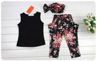 wholesale baby girls clothes black tops vest printed floral pants hairband set 3 piece 2-8T baby girl clothes