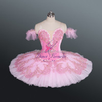 Pink Tulle Tutu Dress for the Role of Sugar Plum Fairy,Professional Ballet Performance Costumes,Girls Stage Show Dancewear