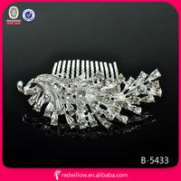 2014 new design Silver Hair Accessories Peacock hair accessory elastic comb
