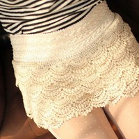 Mini Skirt Style Womens Sweet Cute Layered Crochet Lace Short Pants Short Pant Suits For Women Pants Sexy Short Nighty