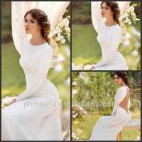 2014 Latest Bridal Gown Western Style Fashion Custom Made Wholesale Mermaid Long Sleeves Wedding Dress Sexy DW338