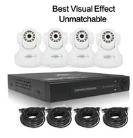 4CH Mini NVR+4pcs 720P camera KIT HD IP Camera SET home Security system set P2P CCTV /IR NVR video CAMERA KIT T46