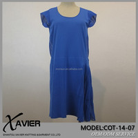 Advanced brand manufacturer Hybrid splicing apphire blue knitted pretty woman cotton express clothing with kevlar fabric