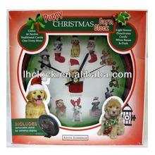 Different puppy Christmas Carol wall clock