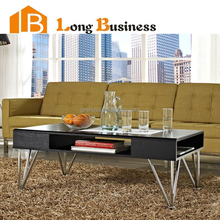 LB-VW5097 New design low wood black coffee table with metal legs