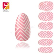 2015 New Lovely Pink Nail Wraps Waterproof Nails Art Design Popular In Korea DNS-QT034