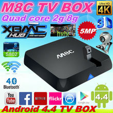 HOT selling M8C Android TV BOX Android 4.4 Amlogic S802 quad core M8-C M8 C M8 TV BOX 2G 8G ROM 5.0MP Camera XBMC 14.0 4Kx2K