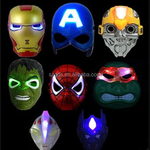 Large In stock cheap LED Spiderman /Hulk Party Masks Amercian Captain design party mask Halloween party masks