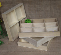 Natural unfinished wooden candy tray with compartiments