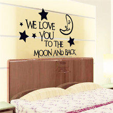 "Giant 80x125cm (31.5""x49"") Love Quotes Art Wall Sticker Large for Kids Room Moon Star Approved Removable PVC Mixable DF5202"
