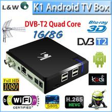 Original Android TV Box K1 Quad core DVB T2 KODI/xbmc pre-installed TV Box Android