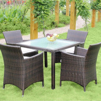 Rattan dining set waterproof and UV resistant used restaurant table and chair costco outdoor furniture