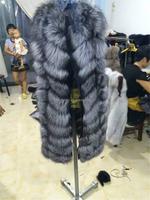 Natural silver fox fur vest Russian women coat