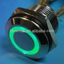 16mm Momentary Stainless Steel Push Button Switch with FLAT head of power symbol LED