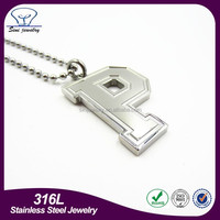Cheap blank alphabet pendant letter stainless steel silver fashion letter p pendant jewelry