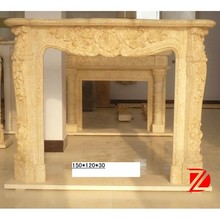 unique caved natural indoor marble fireplace