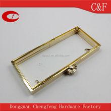 Golden vintage Metal Clutch Frame with Nice fan-shaped kiss lock, bag frame closure hardware
