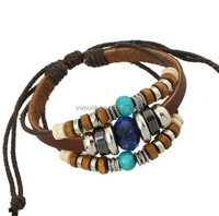 wood beads Popular Real cow leather bracelets cuff jewelry wristband blue beads