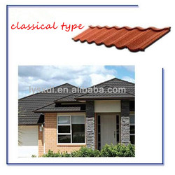 colorful stone coated metal roofing tile for building material, new type colorful stone coated metal roof tile