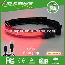 Factory supply high quality rechargeable LED dog collar with solar led light