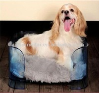 Square blue acrylic pet dog bed with gray cushion