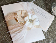 paper fold with big flower decoration wedding invitation pocket with lace