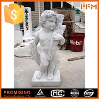 Decorative garden marble child fishing sculpture
