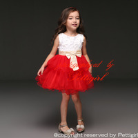 2015 Fashion Girl Party Dress White And Red Flower Fashion Kid Dresses Baby Clothes Free Shipping GD31025-1