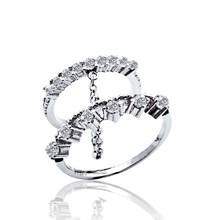 Fashion 925 Sterling Silver Double Rings Connected by Chain for Women