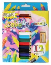 Jumbo color pencil set,color pencil set,wooden color pencil,glitter color pencil
