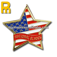 Lucky star shape brass material soft enamel badge with us flag