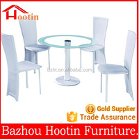 modern restaurant dining tables sets with white leather dining chairs