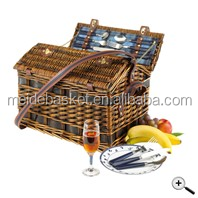 wood chip wine basket with handle
