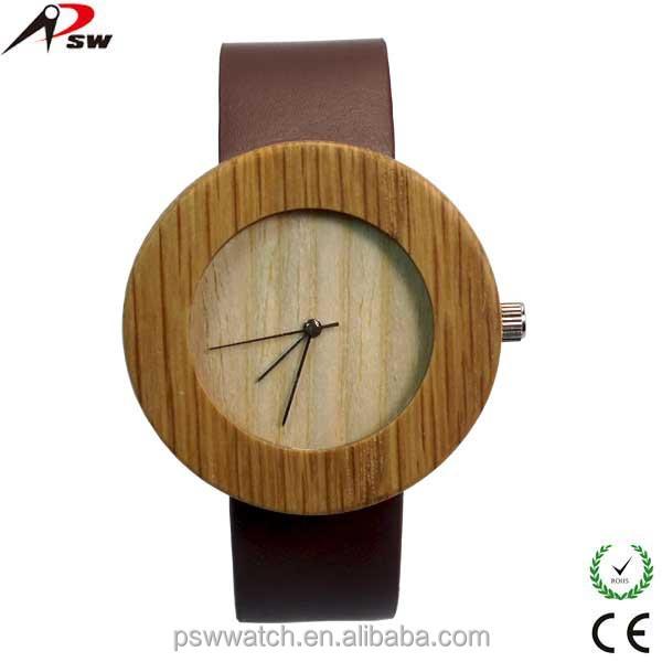2015 new design wooden watch leather strap wooden watches waterproof wood watch