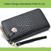 Good price pu simple ladies snake skin purse bags