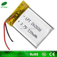 262030 rechargeable 3.7v 110mah polymer lithium battery for mp3 player
