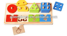 Wooden children education digital shape classification board.wooden alphabet board.