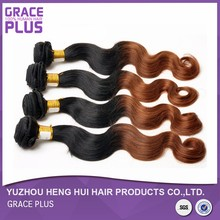 cheap body wave black and red ombre color hair weave extension