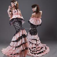 HT400Elegant strapless mermaid hot pink and black new model 2014 wedding dress
