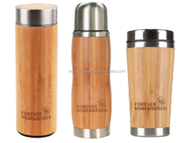 BPA free eco-friendly bamboo lid bamboo water bottle with logo design