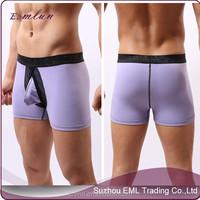 Sexy cheap mature U convex seamless cotton basic boxer man underwear