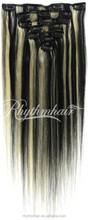 Rhythmhair 2015 hot sale brazilian remy hair extension top quality grade 6A clip in hair extension