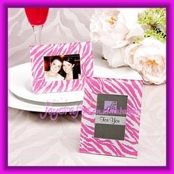 Wedding Table Decoration Pink Zebra Pattern Photo Frame Favors Place Card Holder