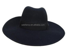 Vintage Women Wide Brim Ribbon Warm Wool Blend Felt Hat Bowler Trilby Fedora Cap QHAT-2200
