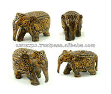 10pcs Exquisite Hand Carved Wooden Painted Indian Royal Ethnic Elephant Figurine Statue Wholesale Lots
