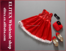 Latest Baby Girl Christmas Dress Red Puffy Tutu with Feather New Kids Clothes