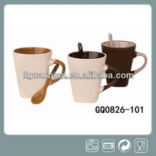 280ml white black ceramic mug with spoon in handles